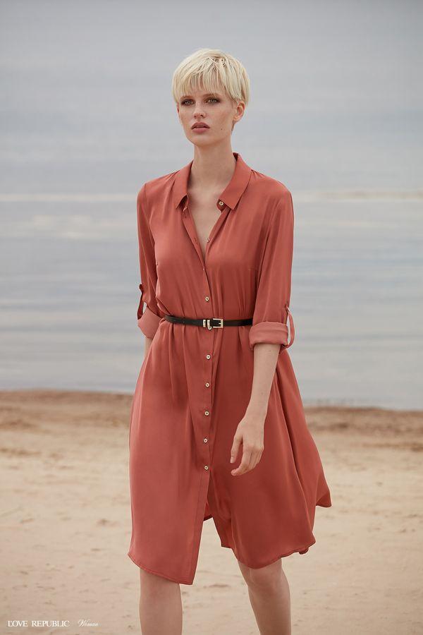 Платье-рубашка с ремнём 9358780540-21