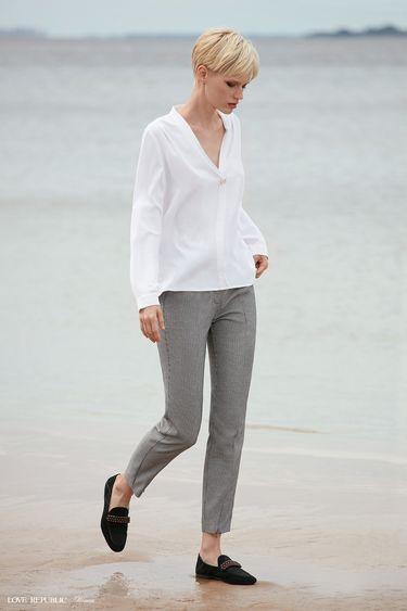 Прямые брюки с чёрно-белым принтом 9358811703