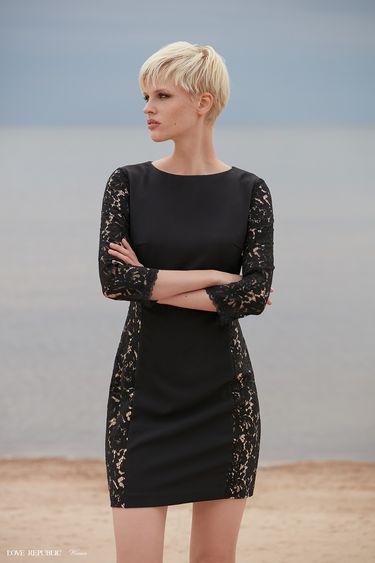 Короткое платье с рукавами из кружева 9358812511