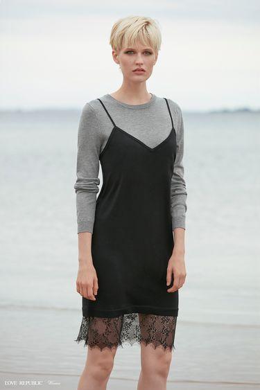Платье миди с кружевным декором 9358885520