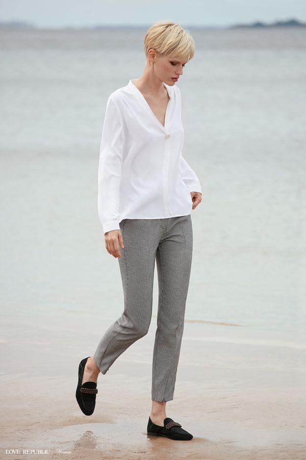 Прямые брюки с чёрно-белым принтом 9358811703-53