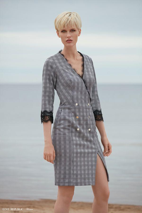 Платье-пиджак в клетку 9358814513-53