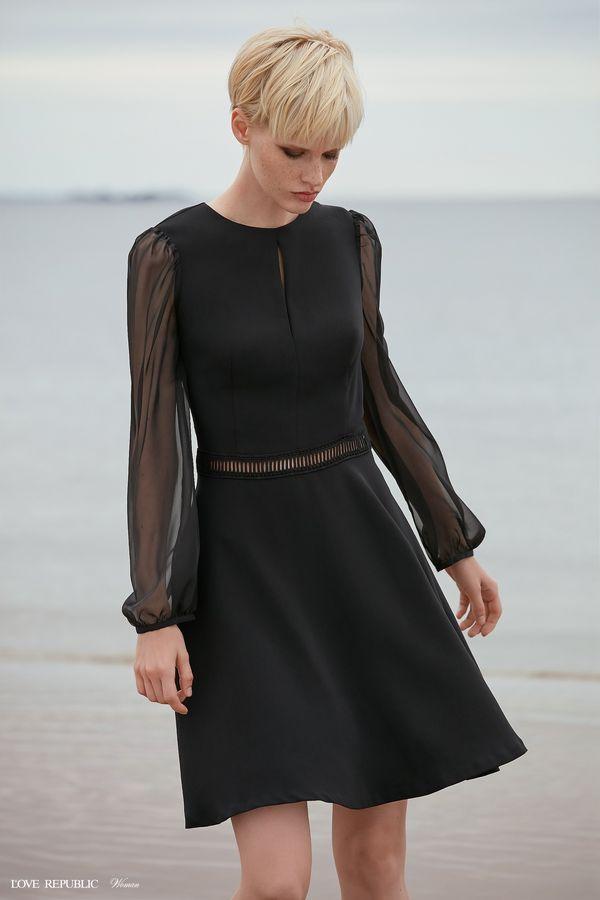 Короткое платье с прозрачными рукавами 9358815514-50