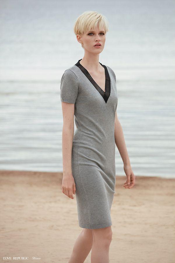 Платье миди с короткими рукавами и боковым разрезом 9358883516-33