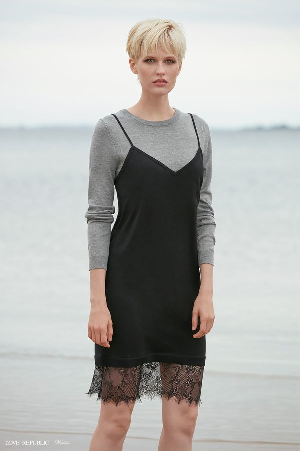 Платье миди с кружевным декором 9358885520-50
