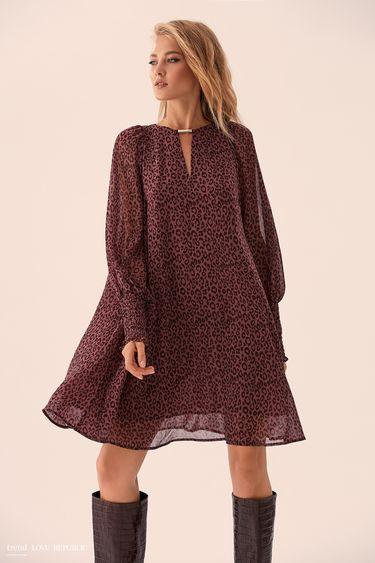 Прямое платье с леопардовым принтом 9359001530