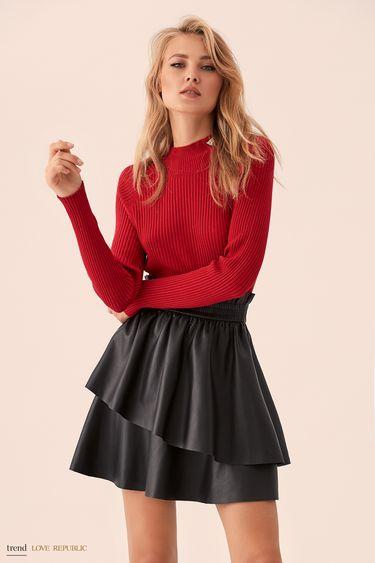 Короткая чёрная юбка с эластичным поясом 9359061226