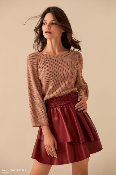 Короткая красная юбка с эластичным поясом 9359061226