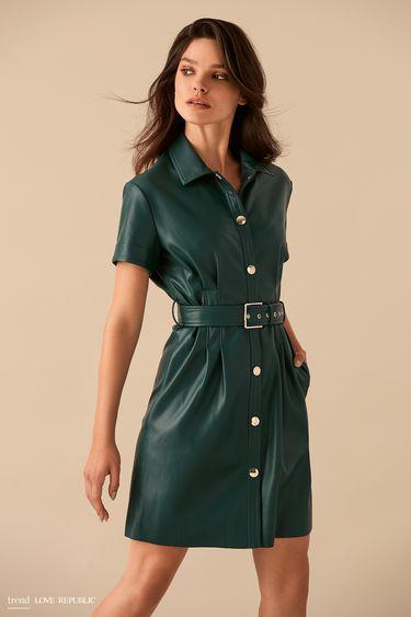 Кожаное изумрудное платье-рубашка с поясом 9359061536