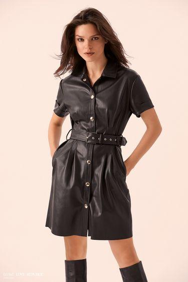Кожаное чёрное платье-рубашка с поясом 9359061536