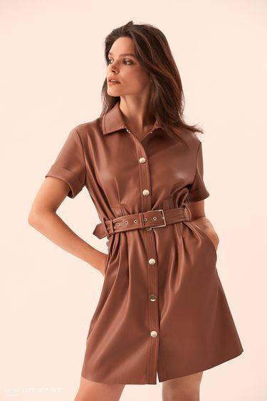Кожаное бежевое платье-рубашка с поясом 9359061536