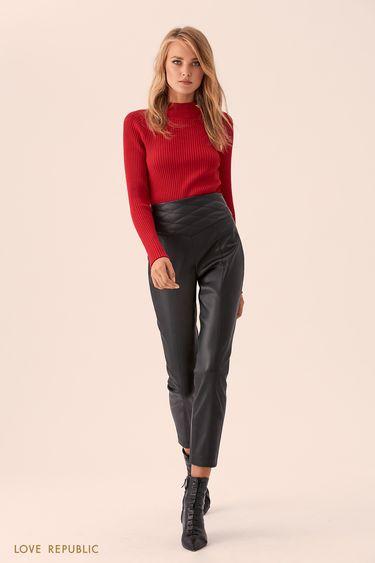 Кожаные брюки со стёганым поясом 9359061719