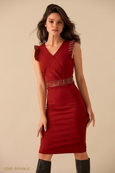 Бордовое платье миди с кожаным поясом 9359062525
