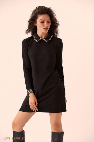 Прямое чёрное платье с отложным воротником 9359066532