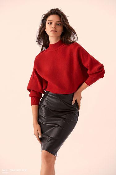 Чёрная кожаная юбка с замшевыми вставками 9359078221