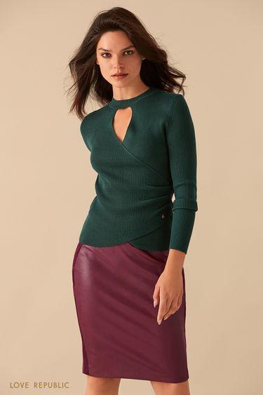Бордовая кожаная юбка с замшевыми вставками 9359078221