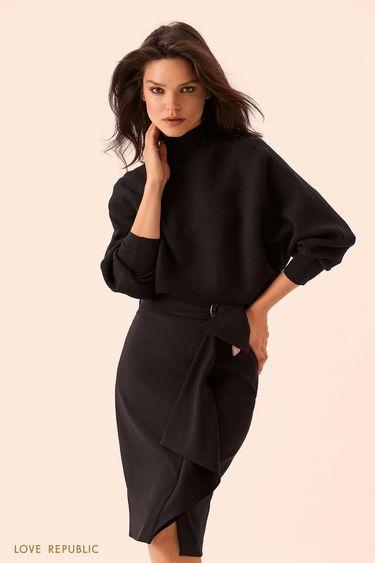 Чёрная юбка миди с поясом из ткани 9359080223