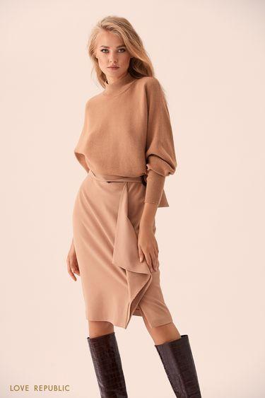 Бежевая юбка миди с поясом из ткани 9359080223