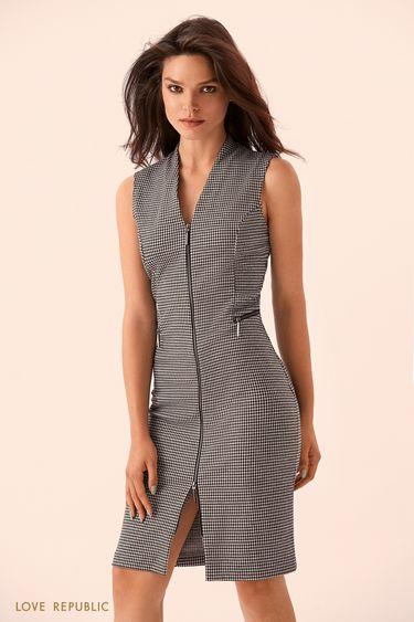Платье-футляр без рукавов на молнии 9359081543