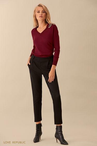 Укороченные чёрные брюки с эластичным поясом 9359083735