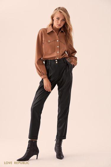 Кремовая кожаная рубашка с карманами 9359091306