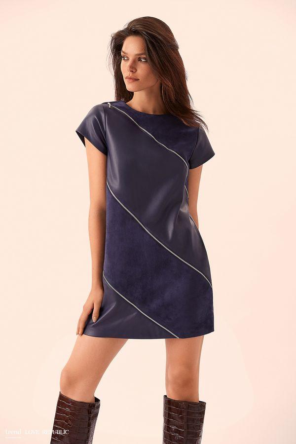 Короткое синее платье со вставками замши 9359061533-47