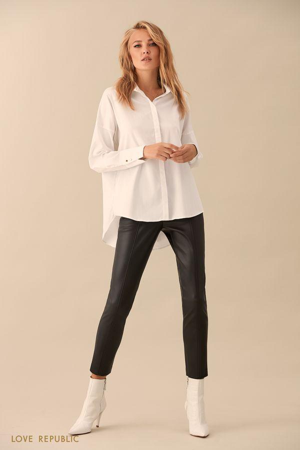 Чёрные брюки с вертикальными швами 9359061711-50