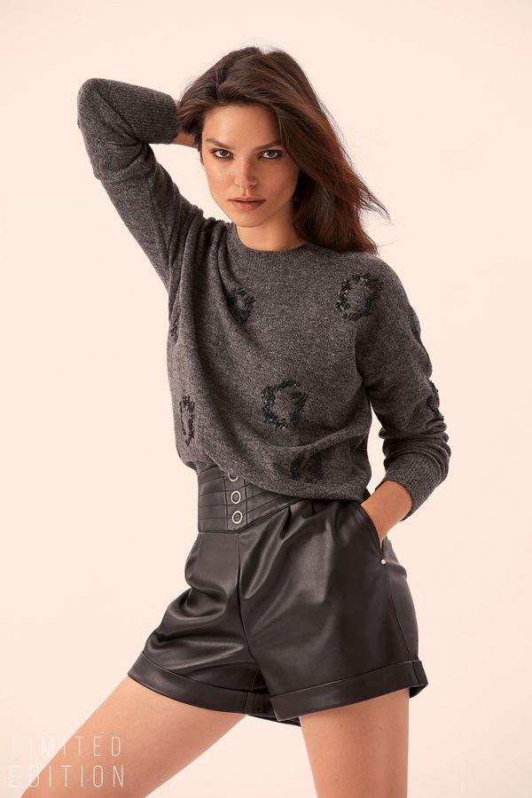 Кожаные шорты с широким поясом 9359061718-50