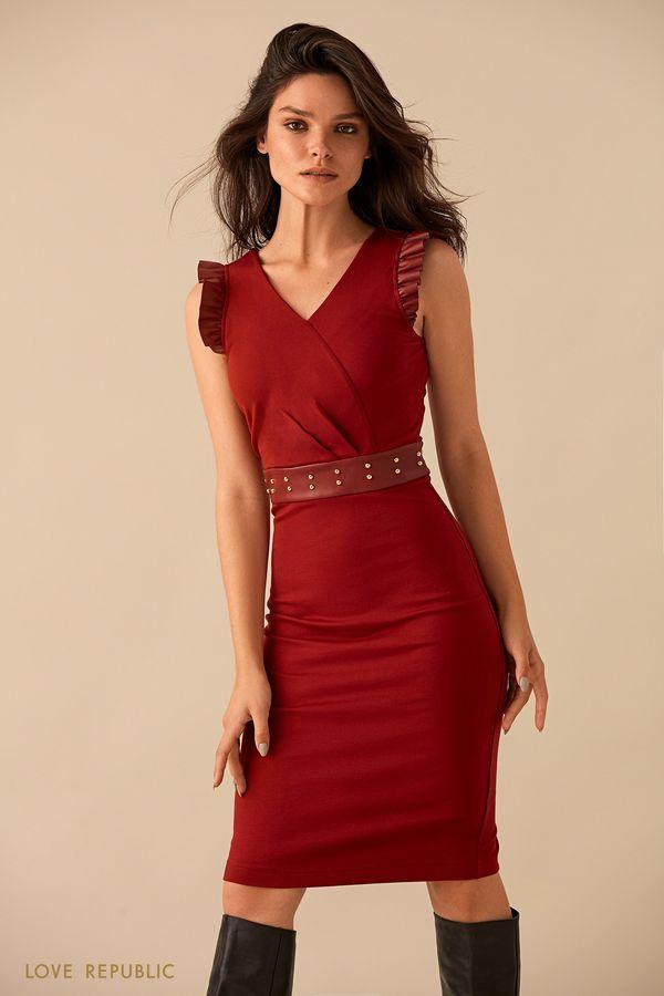 Бордовое платье миди с кожаным поясом 9359062525-71