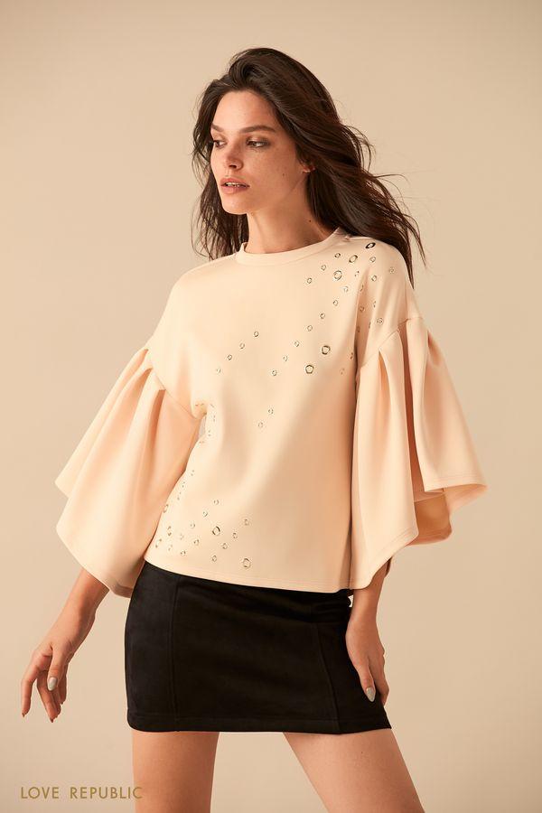 Кремовая блузка с широкими рукавами 9359070307-61