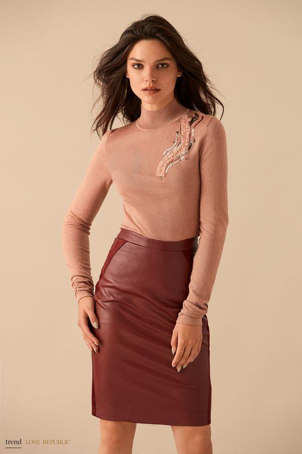 Бордовая кожаная юбка с замшевыми вставками 9359078221-71