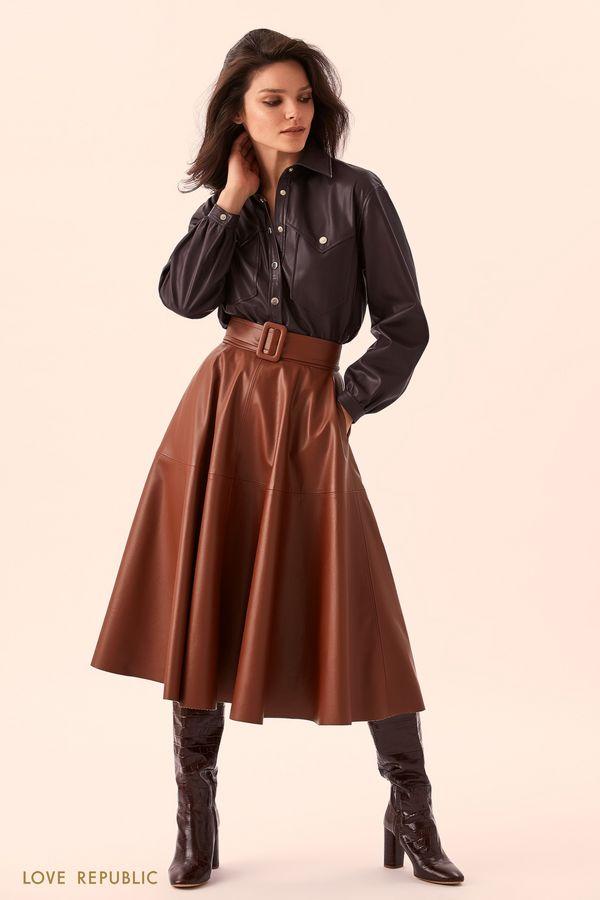 Длинная юбка из искусственной кожи 9359078237-28