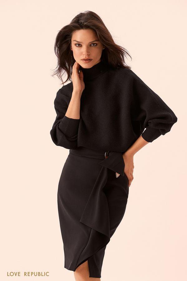 Чёрная юбка миди с поясом из ткани 9359080223-50