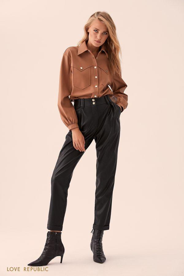 Кремовая кожаная рубашка с карманами 9359091306-61