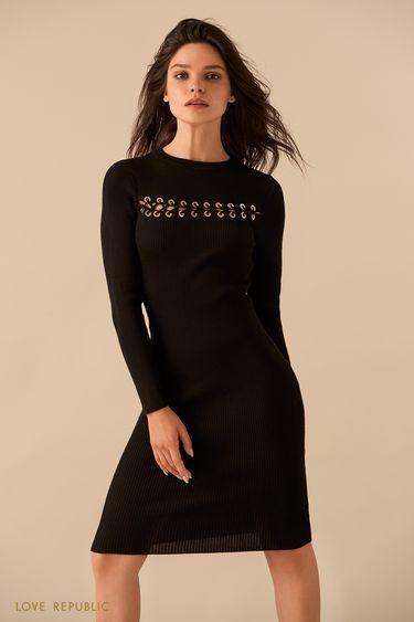 Чёрное платье с горизонтальной шнуровкой  9359137523