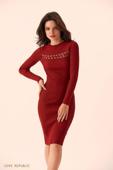Бордовое платье с горизонтальной шнуровкой 9359137523