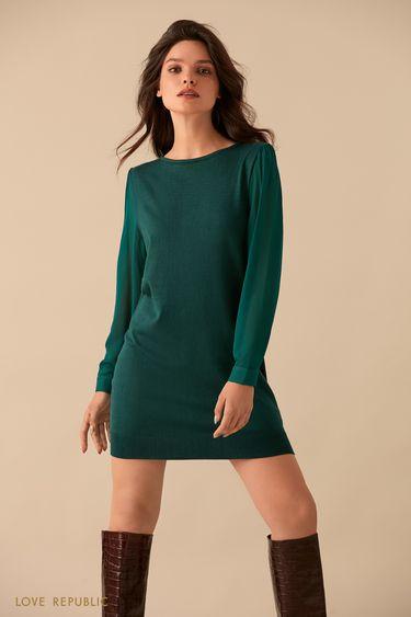 Изумрудное мини-платье с рядом пуговиц на спине 9359150540