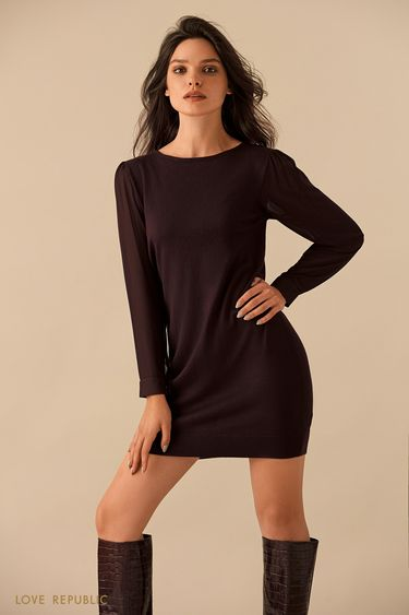 Шоколадное мини-платье с рядом пуговиц на спине 9359150540