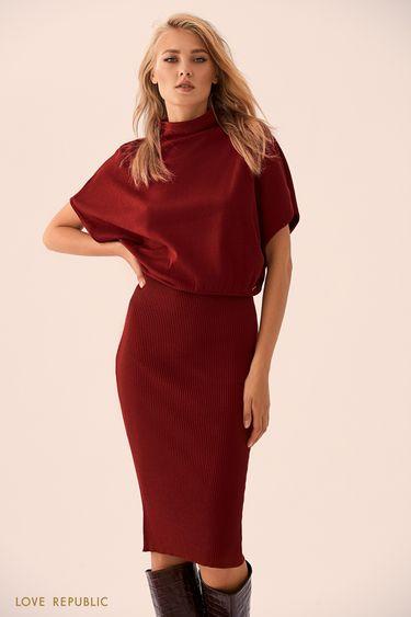 Бордовое трикотажное платье-миди с объёмным верхом 9359150544