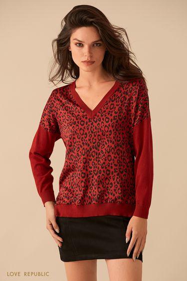 Красный джемпер с принтом и боковыми молниями 9359150835