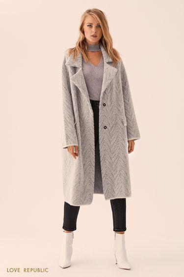 Серое однобортное пальто без подклада 9359167127