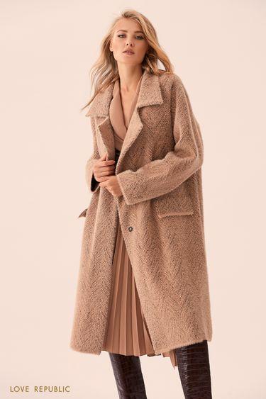 Бежевое однобортное пальто без подклада 9359167127