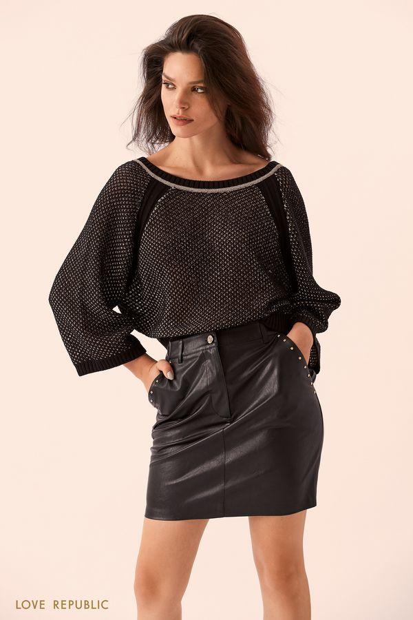 Короткий чёрный джемпер с вырезом на спине 9359147832-50
