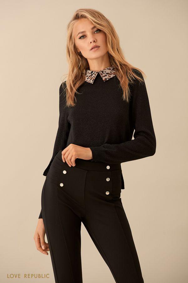 Чёрный джемпер с воротником рубашки 9359149834-50