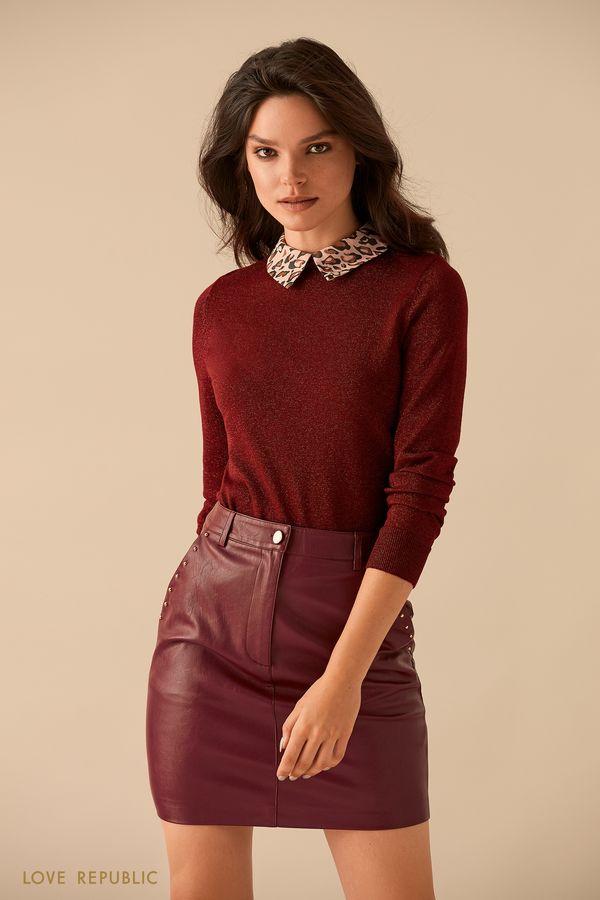 Бордовый джемпер с воротником рубашки 9359149834-71