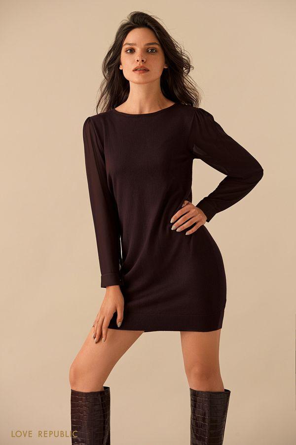 Чёрное мини-платье с рядом пуговиц на спине 9359150540-50
