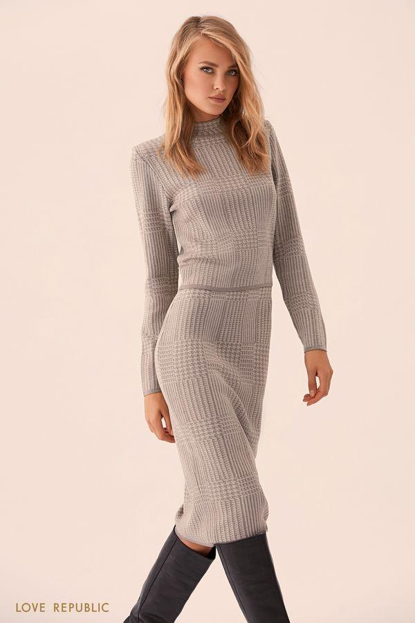 Тёмно-коричневая юбка миди с принтом 9359160209-27