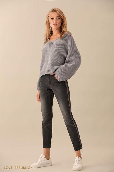 Узкие джинсовые брюки с потёртостями 9359204734