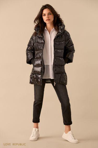 Чёрная куртка-пуховик с длинными манжетами 9359221121