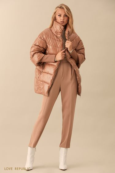 Бежевая куртка-пуховик с длинными манжетами 9359221121